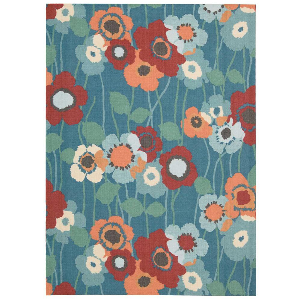 Waverly Pic-A-Poppy Bluebell 8 ft. x 11 ft. Indoor/Outdoor Area Rug