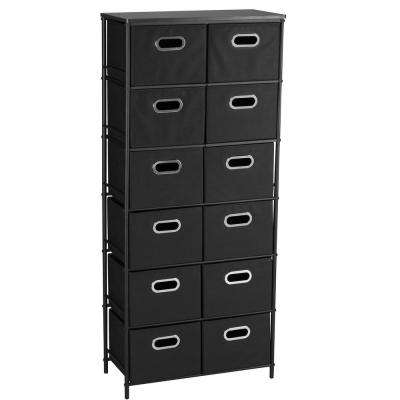 Black 6 Metal Shelf with 12 Black Bins Storage Stand