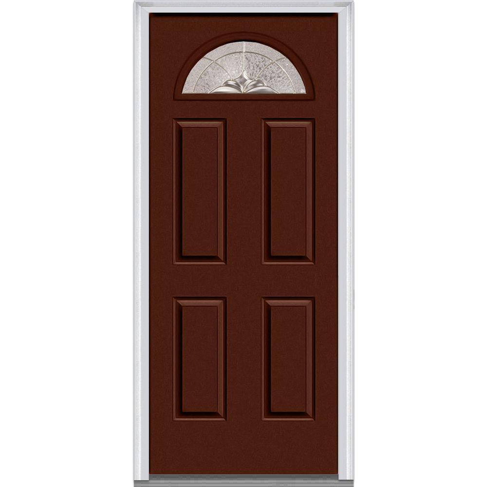 36 in. x 80 in. Heirloom Master Right-Hand 1/4-Lite Decorative 4-Panel Painted Fiberglass Smooth Prehung Front Door