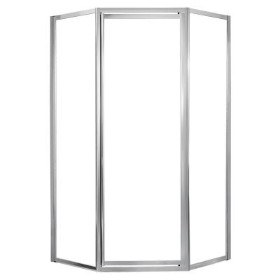 Tides 16-3/4 in. x 24 in. x 16-3/4 in. x 70 in. Framed Neo-Angle Shower Door in Silver and Clear Glass