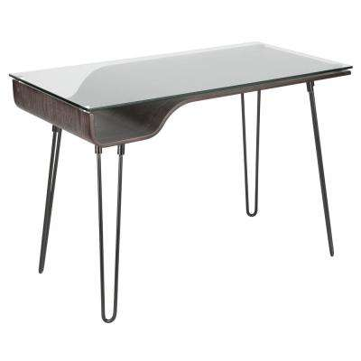 Avery Dark Grey Desk with Clear Tempered Glass Top