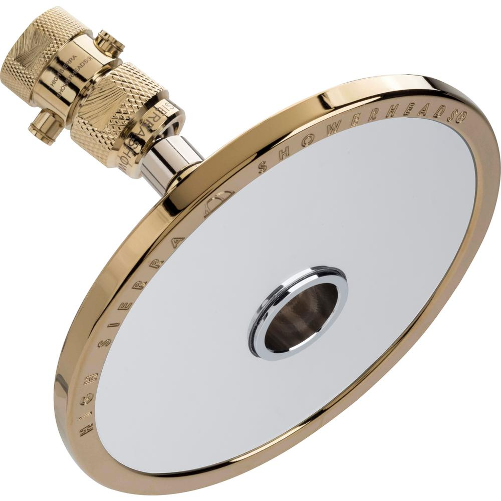 High Sierra Showerheads Reflections 1-Spray 5 in. 1.5 GPM Fixed Shower Head and Fogless Shaving Mirror In-One in Polished Brass
