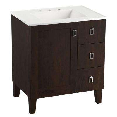 Poplin 30 in. Vanity in Claret Suede with Vitreous China Vanity Top in White