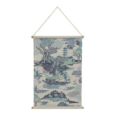 Chinoiserie Hanging Linen Blue Wall Tapestry