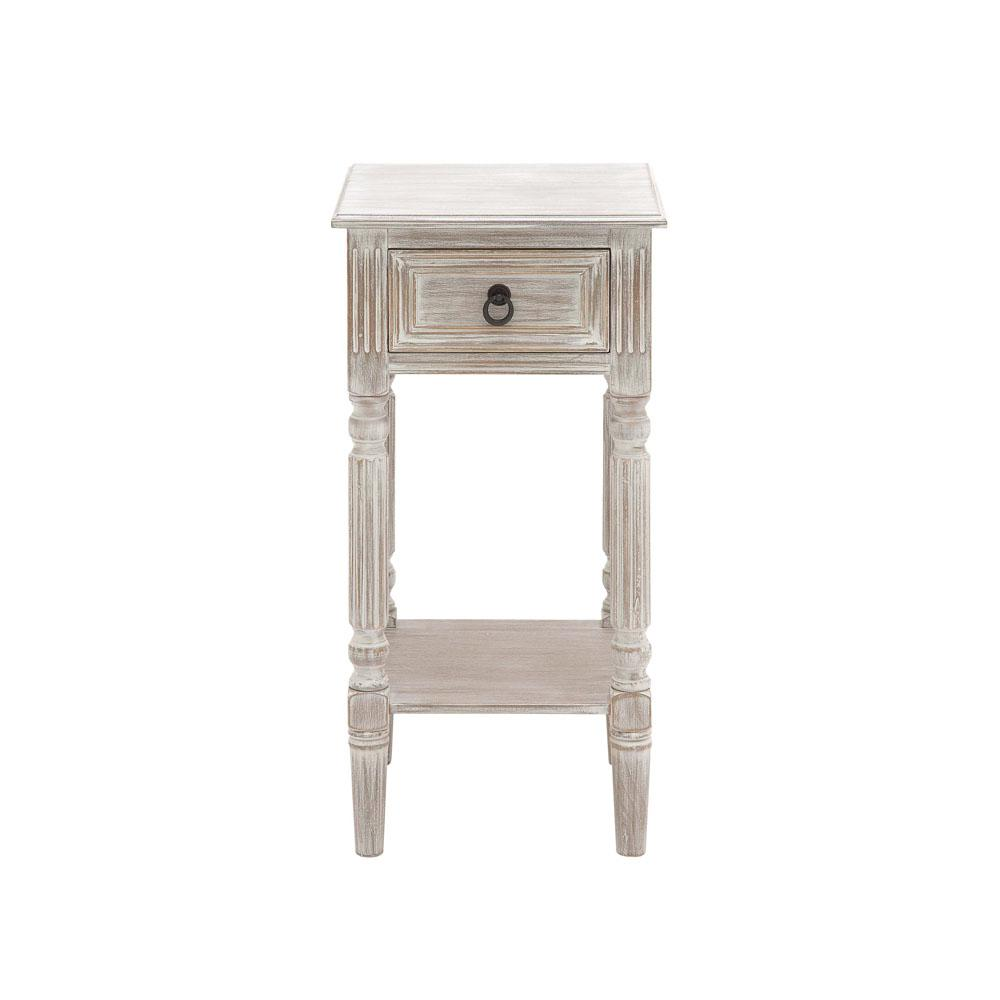 Litton Lane Whitewashed Taupe Wooden Accent Table With Drawer And Bottom Shelf