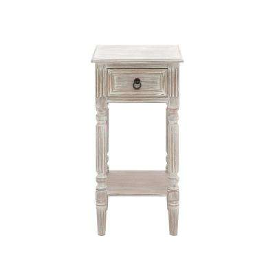Whitewashed Taupe Wooden Accent Table with Drawer and Bottom Shelf