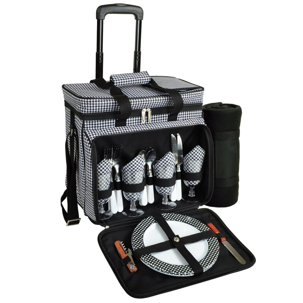 Deluxe Wheeled Picnic Cooler Equipped for 4 with Blanket in Houndstooth