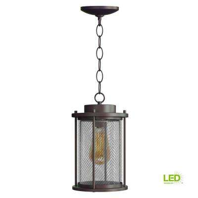 Joelle Collection Antique Bronze Hanging Exterior Pendant Fixture with Edison LED Bulb