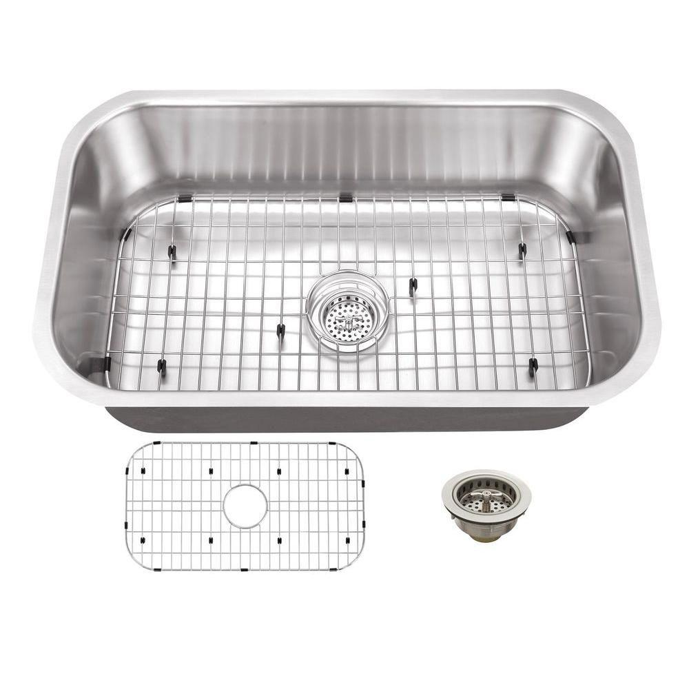 Schon All-in-One Undermount Stainless Steel 30 in. 0-Hole Single Basin Kitchen Sink