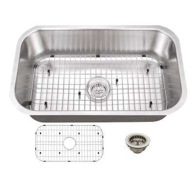 All-in-One Undermount Stainless Steel 30 in. 0-Hole Single Bowl Kitchen Sink