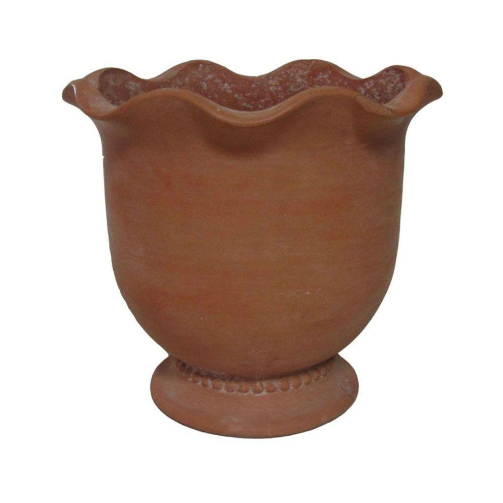 null 9-1/2 in. x 8-1/2 in. Composite Scalloped Rim Urn in White Washed Terra Cotta