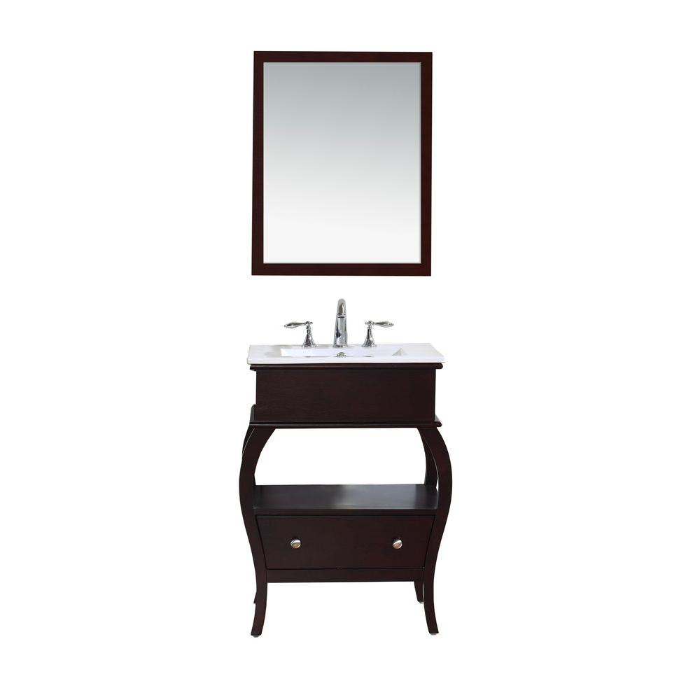 Virtu USA Hilary 26 in. Vanity in Espresso with Ceramic Vanity Top in White and Mirror-DISCONTINUED