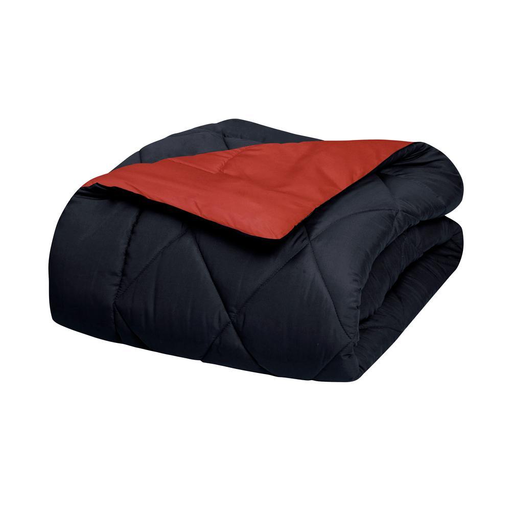 3-Piece Black/Burgundy King Comforter Set