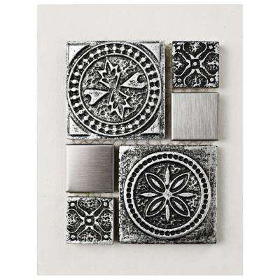 Meta Versailles Stainless Steel Over Ceramic Mosaic Tile - 3 in. x 4 in. Tile Sample