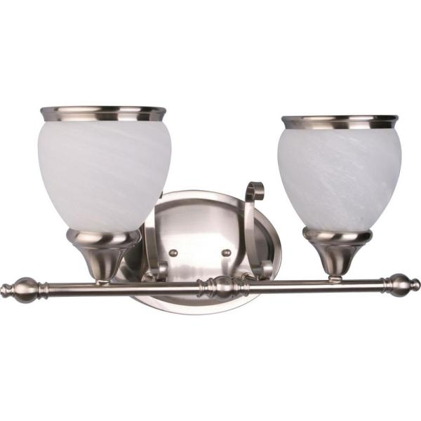 Camden 2-Light Indoor Brushed Nickel Bath or Vanity Light Wall Mount or Wall Sconce with Alabaster Glass Bell Shades