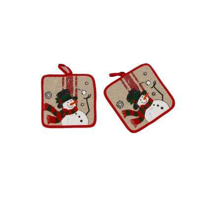 0.1 in. H x 8.5 in. W x 8.5 in. D Frosty Christmas Potholders (Set of 2)
