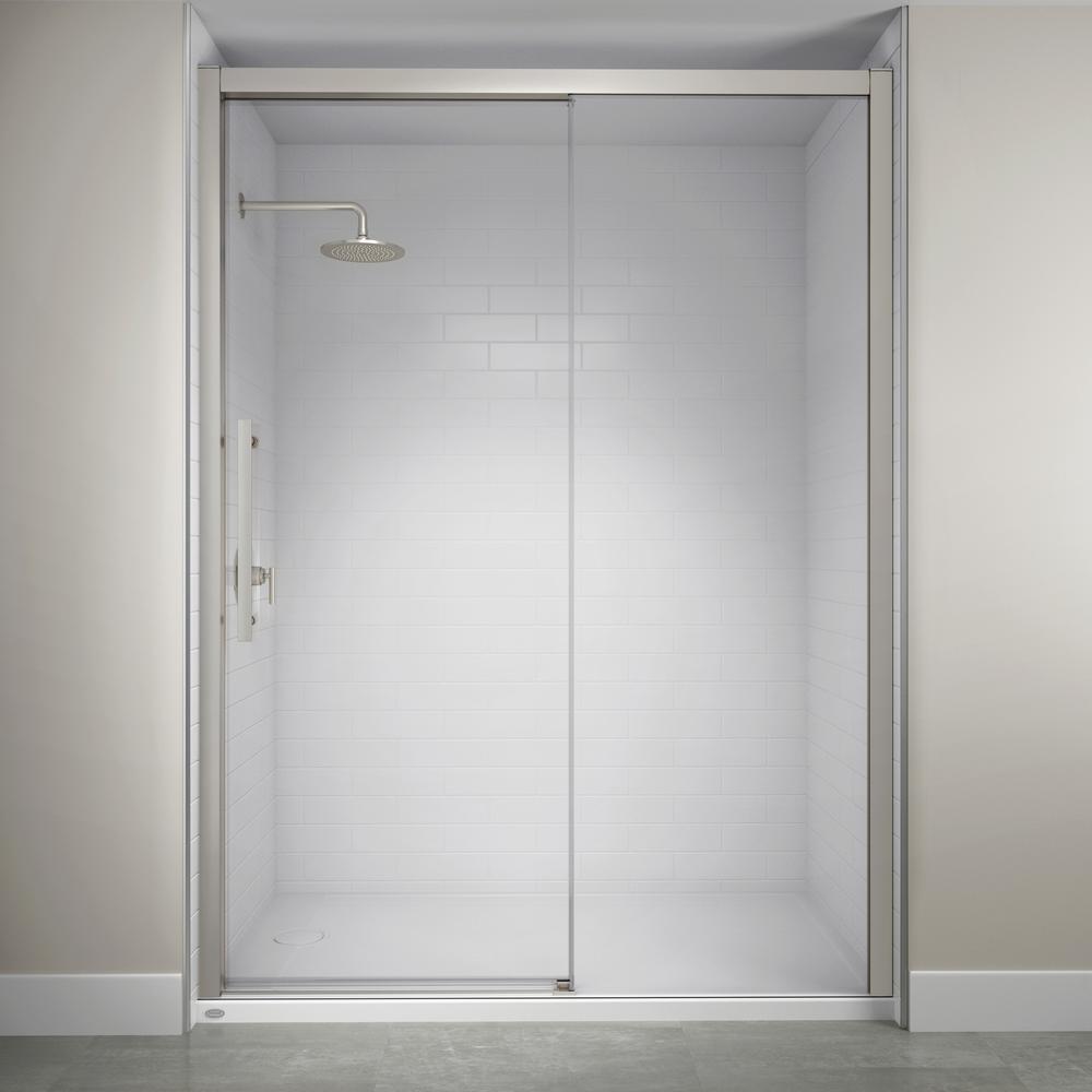 JACUZZI 60 in. x 76 in. Semi-Frameless Concealed Sliding Shower Door in Brushed Nickel