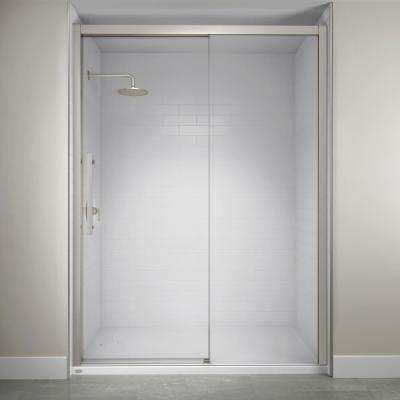 60 in. x 76 in. Semi-Frameless Concealed Sliding Shower Door in Brushed Nickel
