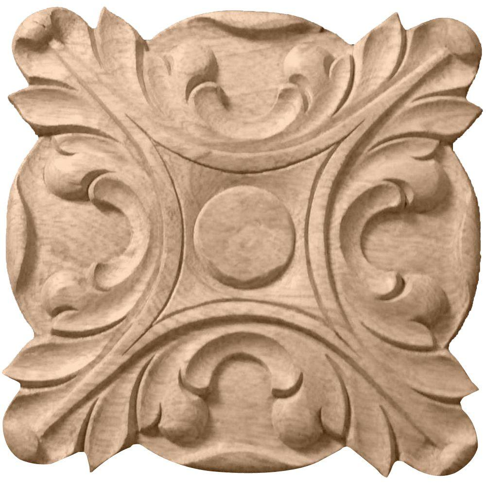Ekena Millwork 5/8 in. x 4-1/4 in. x 4-1/4 in. Unfinished Wood Maple Acanthus Rosette
