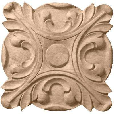 5/8 in. x 4-1/4 in. x 4-1/4 in. Unfinished Wood Maple Acanthus Rosette