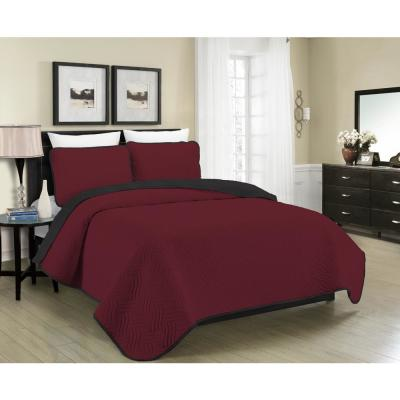 MHF Home Allison Reversible 2-Piece Burgundy and Black Twin Quilt Set