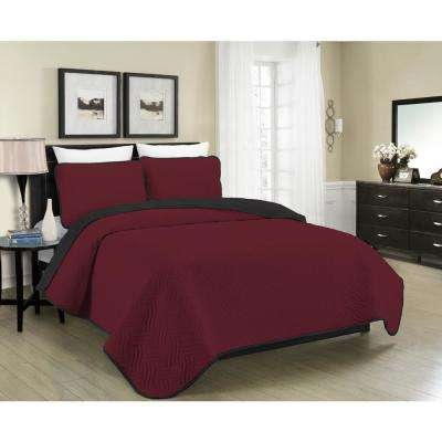Mhf Home Allison Reversible 2 Piece Burgundy And Black Twin Quilt Set