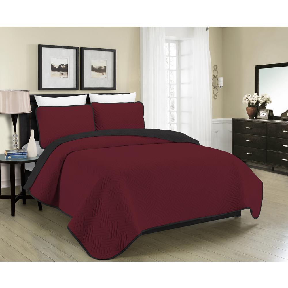 New Burgundy Black 3 Piece Comforter Set Queen Full Size Comforters Bedspread