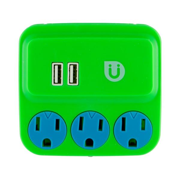 3 Grounded Outlet and 2-USB Port, 2.1 Amp Tap, Green and Blue