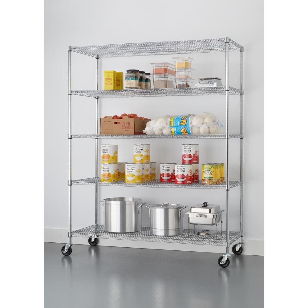 Trinity 72 in. H x 60 in. W x 24 in. D Chrome 5-Tier NSF Wire Shelving Rack