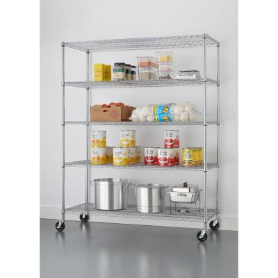 72 in. H x 60 in. W x 24 in. D Chrome 5-Tier NSF Wire Shelving Rack