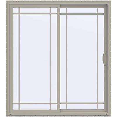 72 in. x 80 in. V-4500 Contemporary Desert Sand Vinyl Right-Hand 9 Lite Sliding Patio Door