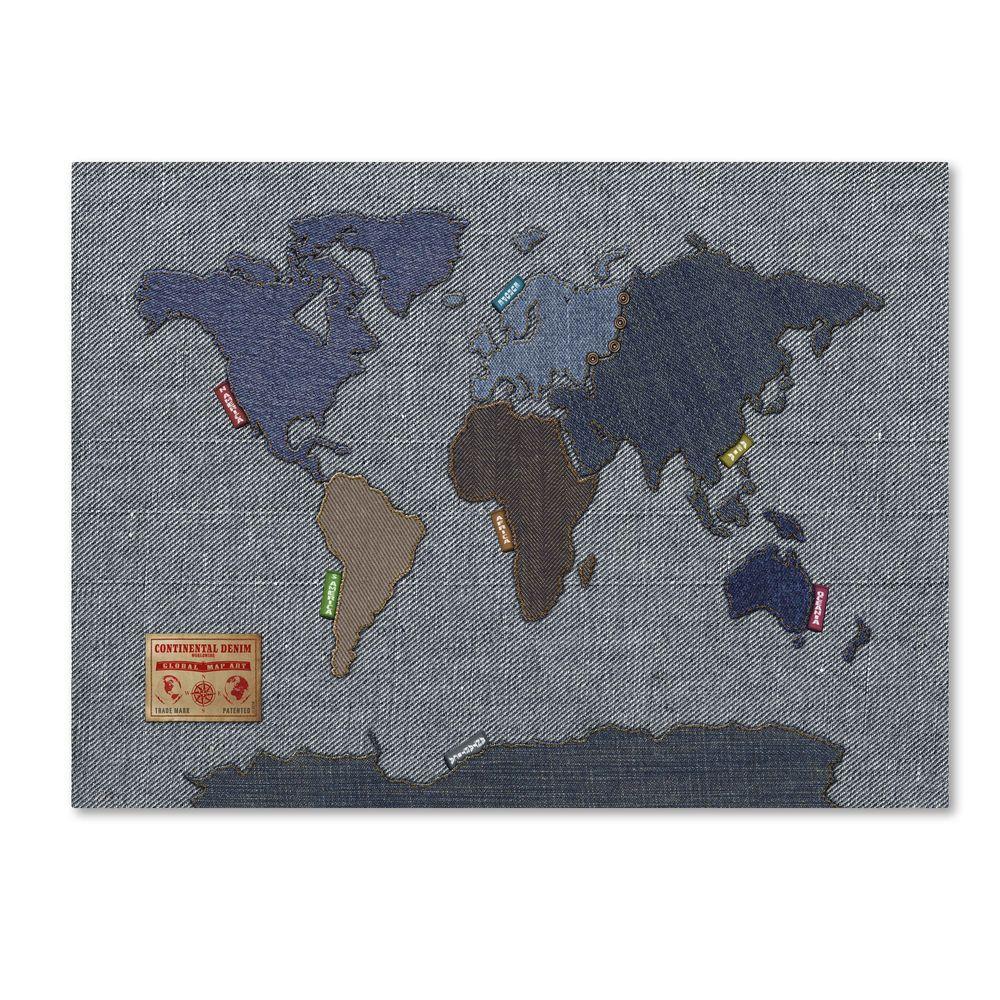 Trademark Fine Art 16 in. x 24 in. Denim World Map Canvas Art