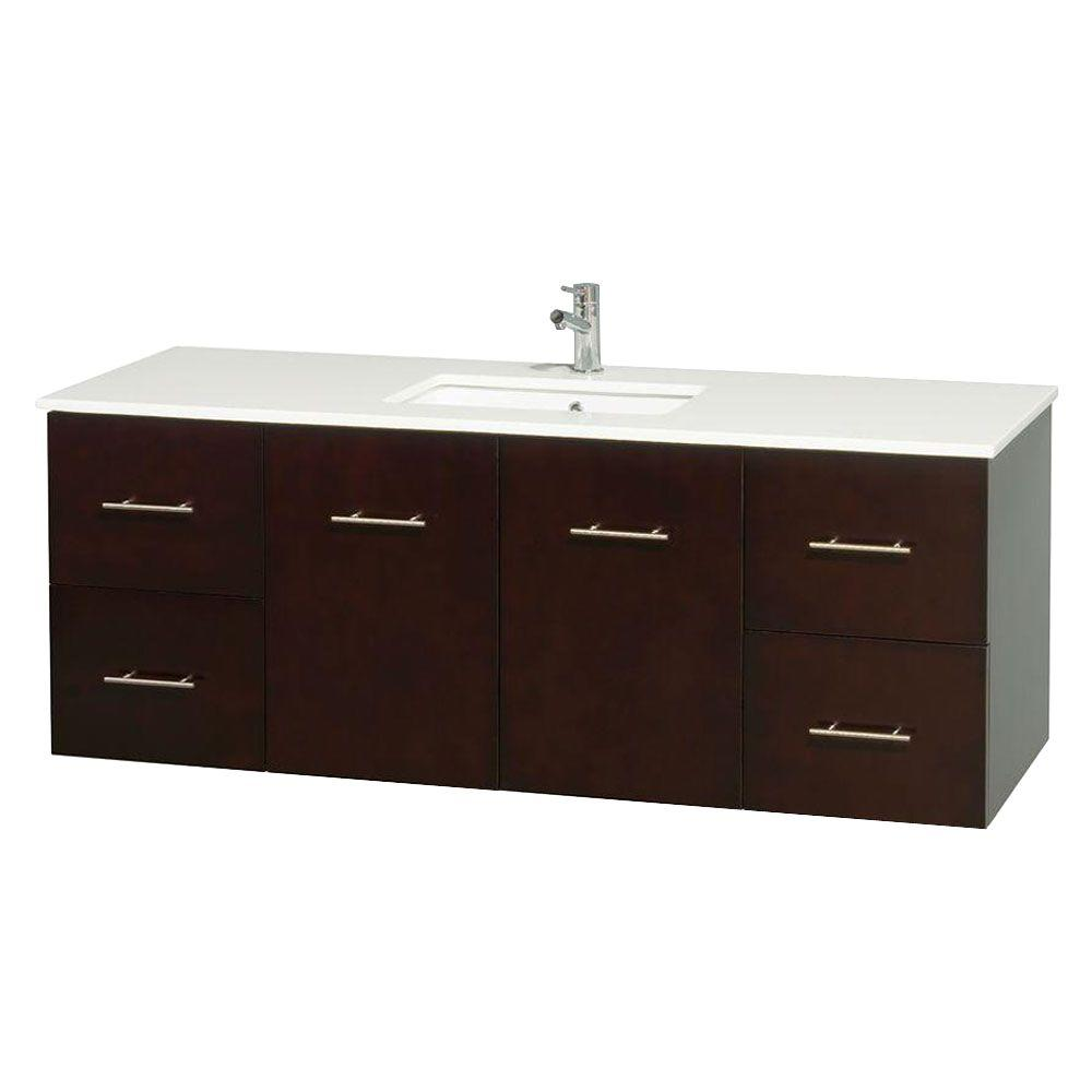 Wyndham Collection Centra 60 in. Vanity in Espresso with Solid-Surface Vanity Top in White and Under-Mount Sink