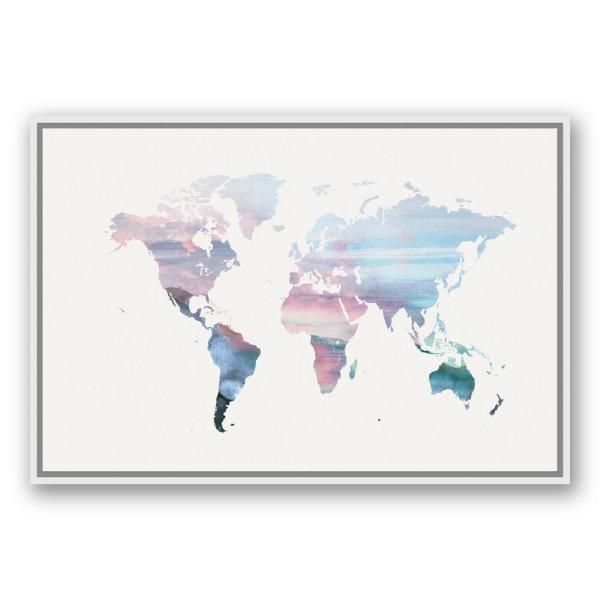 DESIGNS DIRECT 24 in. x 36 in. \'\'Pastel World Map\'\' Printed Canvas ...