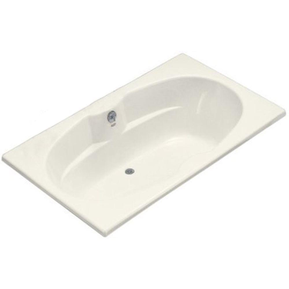KOHLER ProFlex 6 ft. Center Drain Alcove with Tile Flange Bathtub in Biscuit