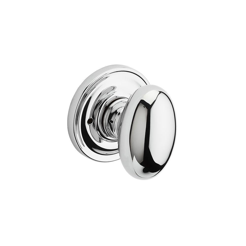 Reserve Ellipse Polished Chrome Bed/Bath Knob with Traditional Round Rose