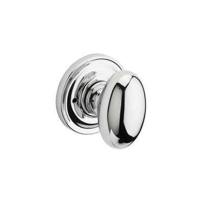 Reserve Ellipse Polished Chrome Bed/Bath Door Knob with Traditional Round Rose