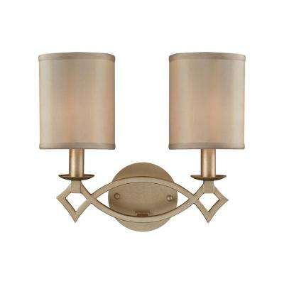 Estonia 2-Light  Aged Silver with Beige Half-Shades Bath Light