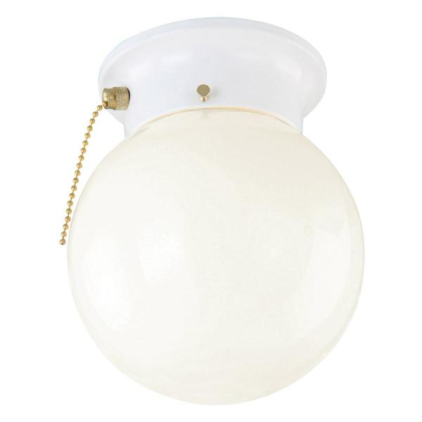 Design House 1 Light White Ceiling Light With Opal Glass With Pull Chain 510040 The Home Depot