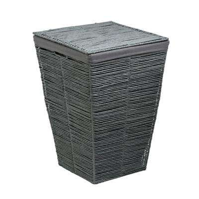 Coastal Collection Grey Rolled Paper Laundry Hamper