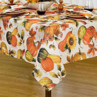 60 in. W x 102 in. L Multi Elrene Grateful Season Polyester Fabric Tablecloth