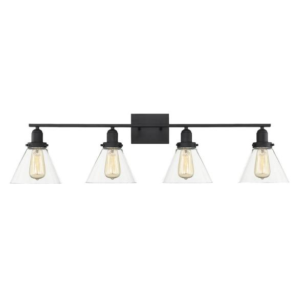 38 in. 4-Light Black Vanity Light with Clear Glass