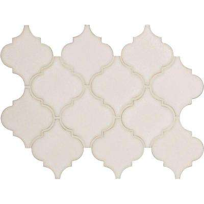 Antique White Arabesque 10-1/2 in. x 15-1/2 in. x 8mm Glazed Ceramic Mesh-Mounted Mosaic Wall Tile (11.7 sq. ft. / case)