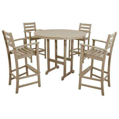 Monterey Bay Sand Castle 5-Piece Plastic Outdoor Patio Bar Height Dining Set