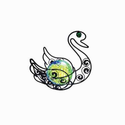 17 in. Solar Glass Wire Critter Swan with Green Light