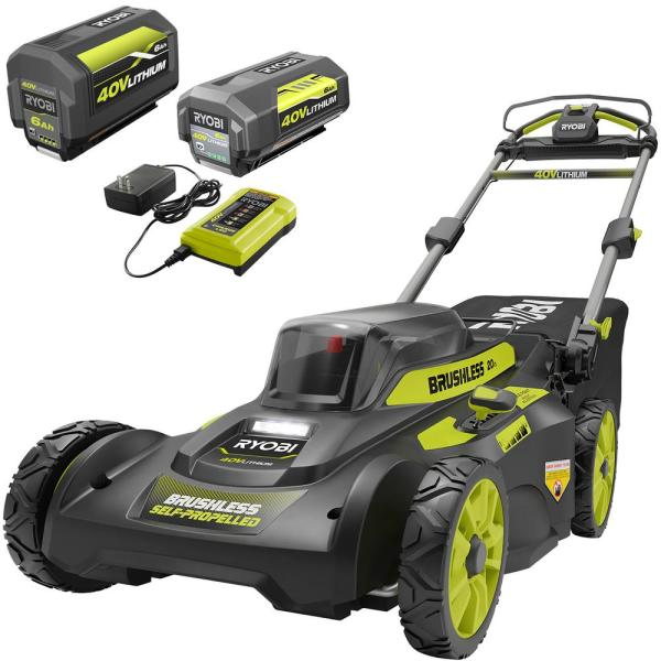20 in. 40-Volt Brushless Lithium-Ion Cordless Self-Propelled Walk Behind Mower with 2 6.0 Ah Batteries, Charger Included