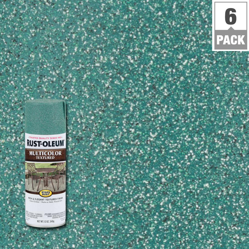 12 oz. Multi-Colored Textured Sea Green Protective Enamel Spray Paint (6-Pack)