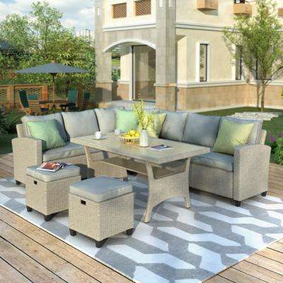 5-Piece Wicker Outdoor Sectional Seating Group with Gray Cushions