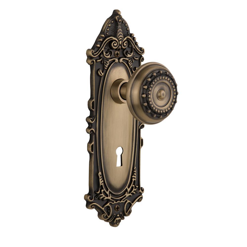Victorian Plate Interior Mortise Meadows Door Knob in Antique Brass - Antique Brass - Door Locks & Deadbolts - Door Knobs & Hardware