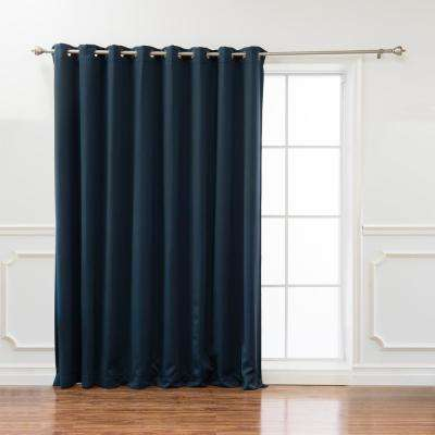 Wide Basic 100 in. W x 84 in. L  Blackout Curtain in Navy